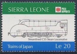 Sierra Leone 1991 Mi 1604 SG 1605 **  Class C55 Streamline Steam Locomotive (1935) / Dampflok - Phila Nippon '91, Tokyo - Sierra Leone (1961-...)
