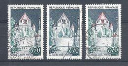 Variétés - YV 1392Ab Oblitérés : 1 Normal , 1 Avec Le Toit Gris, 1 Avec Toit En Feu - Varietà: 1960-69 Usati