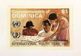 Commonwealth Of Dominica 1985 International  Youth Year Essay Proof IMPERF Education Mother Teaching Children - Dominica (1978-...)