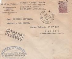 """Lettera Viaggiata Per L'Italia Certificada Col """" Re Vittorio """" Arrivo A Napoli Porto Estero Il 07/06/01915 - Argentina"""