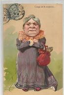 Cpa Humour Illustrée Carte Gauffrée L'ange De La Suspicion 1906 - Humour
