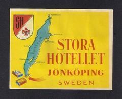Etiquette HOTEL.  STORA HOTELLET à Jönköping En Suède.   Luggage Label. - Hotel Labels