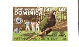 Commonwealth Of Dominica 1985 International  Youth Year Proof IMPERF Environmental Study Parrots Birds - Dominica (1978-...)