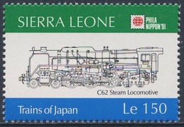 Sierra Leone 1991 Mi 1608 SG 1609 ** Class C62 Steam Locomotive (1948) / Dampflok, Typ C 62 - Phila Nippon '91, Tokyo - Sierra Leone (1961-...)
