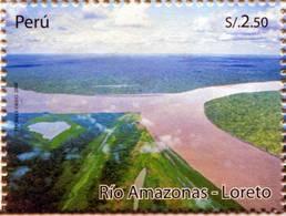 Lote P2009-13, Peru, 2009, Sello, Stamp, Rio Amazonas, Loreto, River, Forest, Tree - Perú