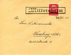 Cachet Caoutchouc Temporaire De MITTERSHEIM Daté Du 14/10/1940 - Alsace-Lorraine