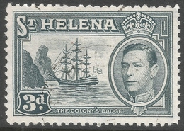 St Helena. 1938-44 KGVI. 3d Used. SG 135a - Saint Helena Island