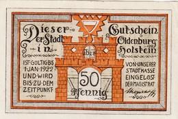 Billet Allemand - 50 Pfennig - Oldenburg In Holstein 1922 - L'eglise - [11] Emissions Locales