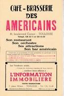 Ancien Menu Café Brasserie Les Americains Toulouse Programme Livret Attractions Et Pleins De Pub Boutique Toulouse - Menus