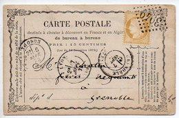 15c Cérès (n° 59) Sur Carte Précurseur De 1873 De Thonon Pour Grenoble - Marcophilie (Lettres)