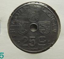 Belgium 25 Centimes 1944 Varnished - 1934-1945: Leopold III