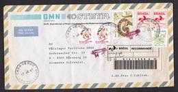 Brazil: Registered Airmail Cover Casa Verde To Germany, 1991, 6 Stamps, Flower, Snake, R-label (damaged, See Scan) - Brieven En Documenten