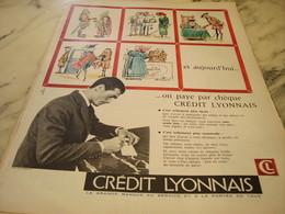 ANCIENNE  PUBLICITE ON PAYE PAR CHEQUE BANQUE CREDIT LYONNAIS  1960 - Advertising