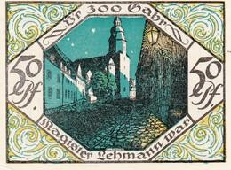 Billet Allemand - 50 Pfennig -  Scheibenberg 1921 - Stadtmotiv Avec Bergmann, L'Église - [11] Emissions Locales