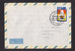 Brazil: Airmail Cover To Netherlands, 1980, 1 Stamp, Hydro Electricity, Energy, Dam (minor Damage, See Scan) - Brazilië