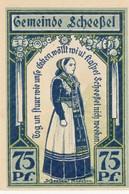 Billet Allemand - 75 Pfennig -  Scheessel 1921 - L'Église, Bäuerin En Costume Typique - [11] Emissions Locales