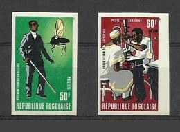 Togo 1976 Yvert 870 ** + PA 285 ** Paire Non Dentelée - Journee Mondiale De La Santé Paludisme Cecité - Togo (1960-...)