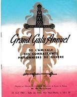 Grand Gala Annuel Amicale Des Combattants Prisonniers De Guerre Sam Lievyn Fabia Gringor Puteaux - Programs