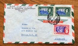 IRAN  ENVELOPE  COVER PAR AVION FROM TEHERAN TO BERLIN ALLEMAGNE   1951 - Iran