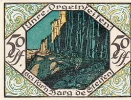 """Billet Allemand - 50 Pfennig -  Scheibenberg 1921 - Steinklippen """"orguepfeifen"""", Bergmann Avec Axt Am Stadtrand - [11] Emissions Locales"""