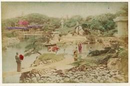 03 -  2 Photos Du Japon 19e -  1) ETANG DU LOTUS  à NIKKO JAPON   2) JEUNE FILLE A L'OMBRELLE  Papier Albuminé Et Aquar - Photos