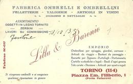 """2710 """" FABBRICA OMBRELLI E OMBRELLINI-PELLETT.-VALIGERIE-ART. IN VIMINI - INGROSSO E DETTAGLIO - TORINO """" ORIGINALE - Cartoncini Da Visita"""