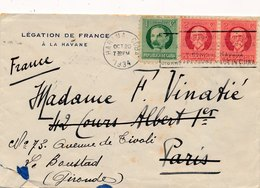 Lettre Legation De France à La Havane Cuba Pour Paris Puis Bordeaux - Covers & Documents