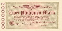 Billet Allemand - Deutsche Reichsbahn - 2 Millionen - Berlin 1923 - [ 3] 1918-1933 : Repubblica  Di Weimar