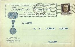 """2711 """" FASOLI & VIMERCATI - MONZA - PREMIATA FABBRICA LIQUORI E SCIROPPI """" CARTOLINA POSTALE ORIGINALE SPEDITA - Mercanti"""