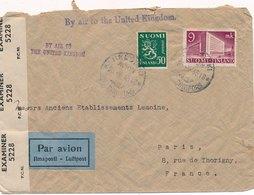 Lettre By Air To The United Kingdom Helsinki Censure Pour Paris - Finlande