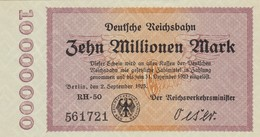Billet Allemand - Deutsche Reichsbahn - 10 Millionen - Berlin 1923 - [ 3] 1918-1933 : República De Weimar