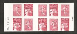 France, Carnet 1511, Daté, Carnet Neuf **, Non Plié, TTB, Carnet Semeuse De Roty, Marianne De Luquet, P3619, 3419a - Usage Courant