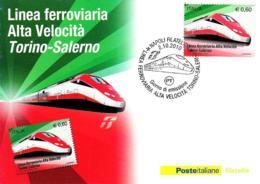 [MD2697] CPM - LINEA FERROVIARIA ALTA VELOCITA' TORINO - SALERNO - CON ANNULLO 2.10.2010 - NV - Treni