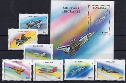 Tanzania 1993 - Planes Aviation Military Aircrafts On Postage Stamps MNH** B306 - Airplanes