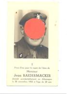 Faire-part De Décès De Jean RAEDERMACKER , Armée Belge - CEREXHE 1933 / Allemagne 1953 + Photo Format CP (b247) - Obituary Notices