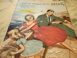 ANCIENNE PUBLICITE AUCUN RISQUE AVEC STICK TERGAL  1960 - Habits & Linge D'époque
