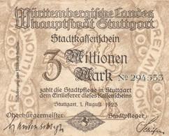 Billet Allemand - 3 Millionen Mark - Stuttgart 1923 - [11] Emissions Locales