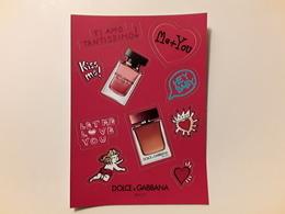 """DOLCE ET GABBANA   ~~~ Superbe Planche De Stickers  """"  Saint Valentin  2019  """"   !! - Perfume Cards"""
