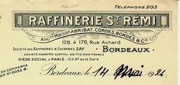 1926 RAFFINERIE SAINT REMI à BORDEAUX Pour Besse Veuve Cabrol Bordeaux VOIR SCANS+HISTORIQUE - France