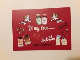 "DOLCE ET GABBANA   ~~~ Superbe Carte ""  Saint Valentin  2019  ""  2 Scans  !! - Perfume Cards"