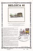 BELGICA 82 - Feuillet Or Sur SOIE/ Op Zijde - Format 16cmx24cm - Timbre 2077 - Diligence - Cheval - 1981-90