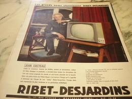 ANCIENNE AFFICHE  PUBLICITE TELEVISION AVEC JEAN COCTEAU ET RIBET JARDINS 1960 - Advertising
