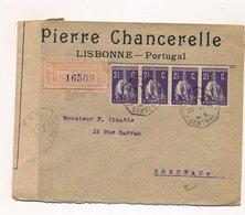 Lettre Recommandée Lisbonne Bande 2 1/2c Censure Pour Bordeaux - Lettres & Documents