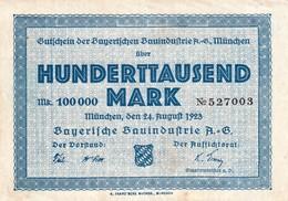 Billet Allemand - 100000 Mark - Munchen 1923 - [11] Emissions Locales