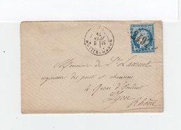 Sur Enveloppe Type Céres 25 C. Bleu Oblitéré Losange Drands Chiffres CAD Montmorillon 1875. CAD Destination Lyon. (1106x - Marcophilie (Lettres)