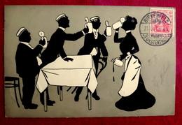 766/ CPA SILHOUETTES HOMMES FEMME BUVANT CHOPES DE BIERE - CACHET BIRKENFELD FURSTENTHUM ( OLDENBOURG ALLEMAGNE ?) - Silhouettes