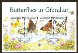 Gibraltar 1997 Yvertn°  Bloc 26 (o) Oblitéré Cote 11 Euro Faune Papillons Vlinders Butterflies - Gibraltar