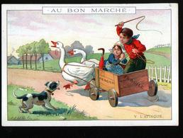 Chromo Au Bon Marche, 1911, SIT 22, 164x115mm, La Charette Aux Oies, V, L'attaque - Au Bon Marché