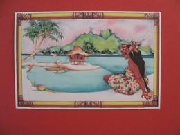 """Polynésie Française Carte Artistes Peintres - Titi Bécaud  """" Vahiné """" - Polinesia Francese"""