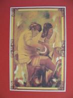 """Polynésie Française Carte Artistes Peintres - Andrée Lang """" Travail à Deux """" - Polinesia Francese"""